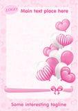 Corações cor-de-rosa, borboletas, curvas, balões e textura sem emenda Foto de Stock Royalty Free