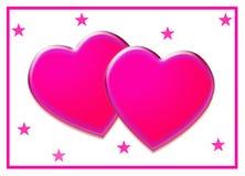 Corações cor-de-rosa de bloqueio do amor Imagens de Stock Royalty Free