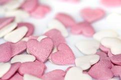 Corações cor-de-rosa do açúcar imagens de stock