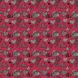 Corações cor-de-rosa e cinzentos Teste padrão sem emenda fotos de stock