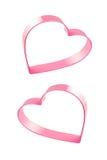 Corações cor-de-rosa no fundo branco Foto de Stock Royalty Free