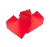 Corações 3d vermelhos do origâmi Fotografia de Stock