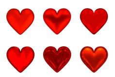 corações 3D vermelhos - isolados Fotos de Stock