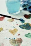 Corações da aquarela Fotografia de Stock