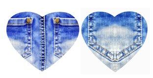 Corações da calças de ganga, isolada no branco Fotografia de Stock