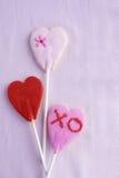 Corações da cookie do pirulito Fotos de Stock Royalty Free