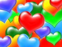 Corações da cor Fotografia de Stock
