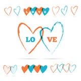 Corações da escova da cor Fotos de Stock
