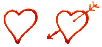 Corações da ketchup Imagem de Stock