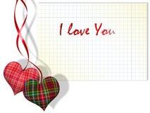 Corações da manta e papel checkered Fotografia de Stock