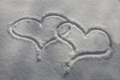 Corações da neve Imagem de Stock Royalty Free