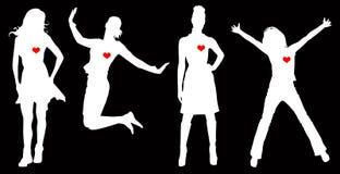 Corações das mulheres ilustração stock