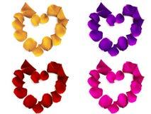 Corações das pétalas de Rosa Imagens de Stock