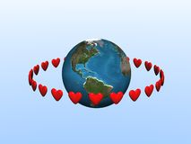 Corações de órbita Ilustração do Vetor