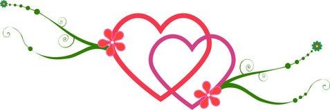 Corações de bloqueio com videiras Foto de Stock Royalty Free