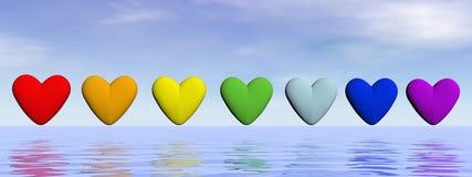 Corações de Chakra - 3D rendem Fotografia de Stock