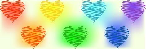 Cora??es de cores diferentes do arco-?ris em um fundo branco S?mbolo LGBT ilustração do vetor