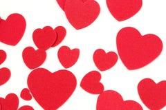 Corações de feltro Imagem de Stock