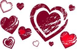Corações de Grunge Foto de Stock