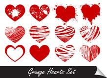 Corações de Grunge ajustados Fotos de Stock