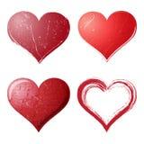 Corações de Grunge ajustados Foto de Stock Royalty Free