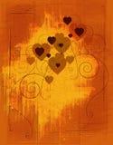 Corações de Grunge ambarinos Fotos de Stock Royalty Free