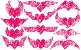 Corações de Grunge com asas Fotos de Stock Royalty Free