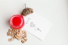 Corações de madeira, doce Imagens de Stock Royalty Free