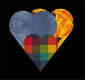Corações de matéria têxtil Foto de Stock