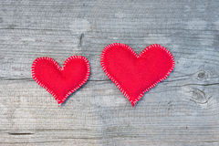 Corações de matéria têxtil Foto de Stock Royalty Free