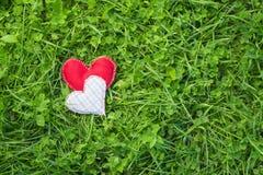 Corações de matéria têxtil Fotografia de Stock Royalty Free