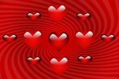 Corações de Mulitiple na espiral vermelha imagens de stock royalty free