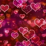 Corações de néon de incandescência do fundo sem emenda Foto de Stock