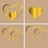 Corações de ouro Imagem de Stock Royalty Free