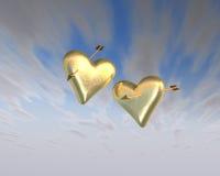 Corações de ouro fotos de stock