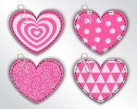 Corações de papel com testes padrões diferentes Fotografia de Stock