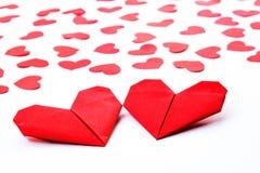 Corações de papel no papel Imagem de Stock Royalty Free