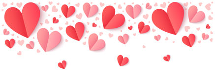 Corações de papel vermelhos e cor-de-rosa com sombra, beira do vetor do dia de Valentim ilustração do vetor