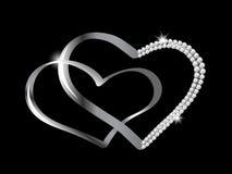 Corações de prata Fotografia de Stock Royalty Free