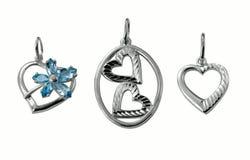 Corações de prata da jóia Fotos de Stock