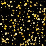 Corações de queda do ouro no fundo preto Ilustração do vetor Fotografia de Stock