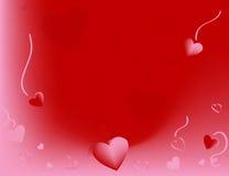 Corações de queda no vermelho e na cor-de-rosa Imagens de Stock