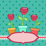 Corações de sorriso nos flowerpots Imagens de Stock Royalty Free