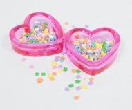 Corações de vidro cor-de-rosa com estrelas Fotos de Stock Royalty Free
