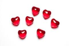 Corações de vidro dispersados Fotos de Stock Royalty Free