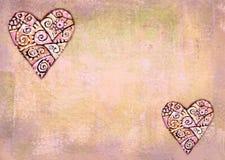 Corações decorativos étnicos abstratos no fundo do grunge Imagem de Stock Royalty Free
