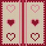 Corações decorativos feitos malha do Valentim de matéria têxtil, teste padrão sem emenda ilustração stock