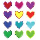 Corações decorativos isolados coloridos com esboço do mosaico no fundo branco Foto de Stock Royalty Free