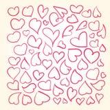 Corações desenhados mão ajustados Fotos de Stock