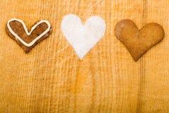 Corações diferentes com açúcar Fotos de Stock Royalty Free